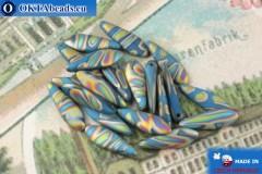 Чешские бусины кинжалы синий витраил матовый (62010-2817V) 5х16мм, 20шт MK0530