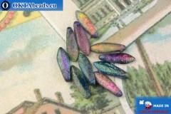 Чешские бусины кинжалы синий витраил матовый антик (00030/95100E) 5х16мм, 10шт MK0495