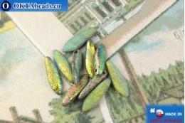 Český korálky jazýčky zelený vitrail matný antique (00030/28180E) 5x16mm, 10ks MK0501