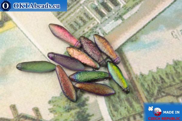 Чешские бусины кинжалы зеленый витраил матовый антик (00030/95500E) 5х16мм, 10шт MK0499