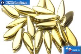 Чешские бусины кинжалы золото (00030/26440) 5х16мм, 20шт MK0063