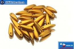 Чешские бусины кинжалы золото матовые (29415) 3х11мм, 25шт MK0093