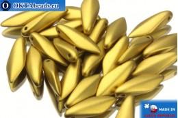 Чешские бусины кинжалы золото матовые (29418) 5х16мм, 25шт MK0076