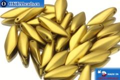 České korálky jazýčky zlato matný (29418) 5x16mm, 25ks