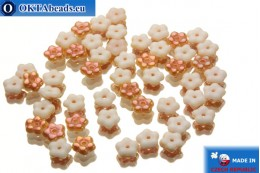 Czech flower bell beads white copper (02010/29121) 5x5mm, 50pc MK0043