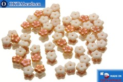 Czech flower bell beads white copper (02010/29121) 5x5mm, 50pc