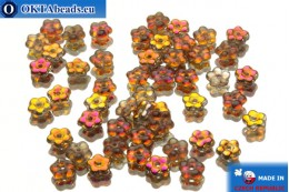 Czech flower bell beads crystal vitrail (00030/27103) 5x5mm, 50pc MK0041
