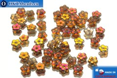 Czech flower bell beads crystal vitrail (00030/27103) 5x5mm, 50pc