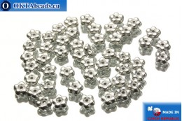 Czech flower bell beads silver (00030/27000) 5x5mm, 50pc MK0040