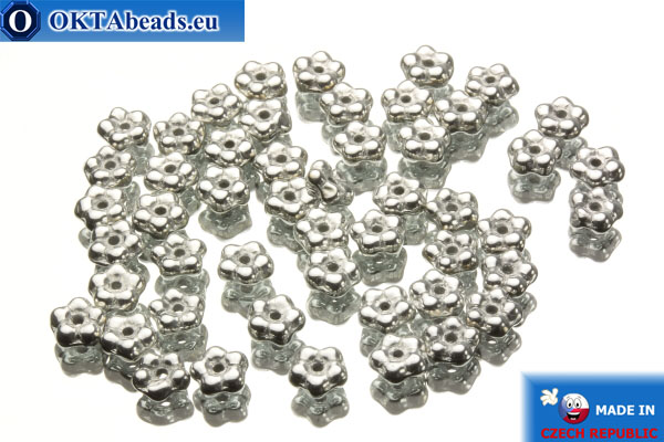 Чешские бусины колокольчики серебро (00030/27000) 5х5мм, 50шт MK0040