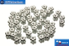 Czech flower bell beads silver (00030/27000) 5x5mm, 50pc