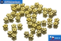 Czech flower bell beads gold (00030/26440) 5x5mm, 50pc
