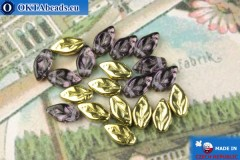 Czech leaf beads lilac gold (20500-26441) 6x10mm, 20pc