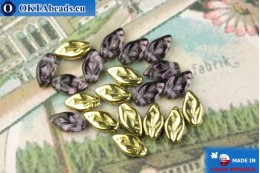 Czech leaf beads lilac gold (20500-26441) 6x10mm, 20pc MK0532