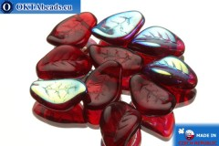 Czech leaf beads garnet AB (90080/28701) 9x14mm, 10pc
