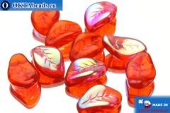 Чешские бусины лепестки красные радужные (90060/28701) 9х14мм, 10шт