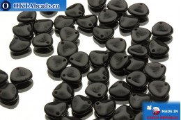 Czech rose petals beads black (23980) 8x7mm, 50pc MK0037