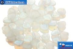 Czech rose petals beads crystal AB matte (00030/84100/28701) 8x7mm, 50pc