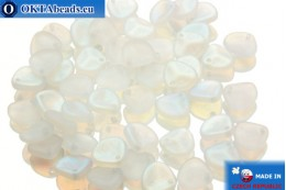 Чешские бусины лепестки роз кристалл радужные матовые (00030/84100/28701) 8х7мм, 50шт MK0034