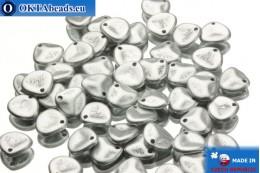 Чешские бусины лепестки роз серебро матовые (02010/01700) 8х7мм, 50шт MK0035