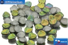 Чешские бусины лепестки роз серые витраил матовые (00030/84100/28171) 8х7мм, 50шт MK0033