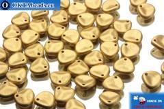 Czech rose petals beads gold matte (00030/01710) 8x7mm, 50pc