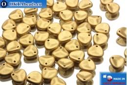 Чешские бусины лепестки роз золото матовые (00030/01710) 8х7мм, 50шт MK0032