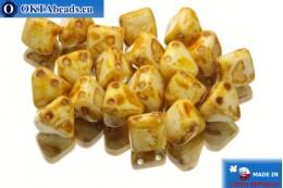 Pyramid czech beads white travertin (02010/86800) 6x6mm, 20pc