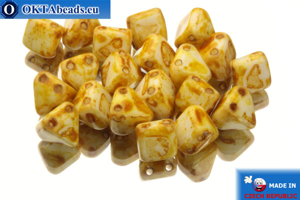 Pyramid czech beads white travertin (02010/86800) 6x6mm, 20pc MK0098