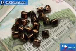 Pyramid czech beads bronze (LM23980) 6mm20pc MK0302