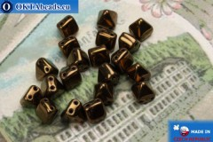 Pyramid czech beads bronze (LZ23980) 6mm20pc MK0305