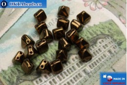 Pyramid czech beads bronze (LZ23980) 6mm20pc MK0305