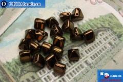 Pyramid czech beads bronze (LM23980) 6mm20pc