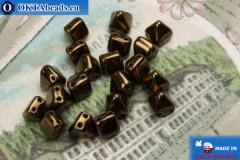Pyramid czech beads bronze (LZ23980) 6mm20pc