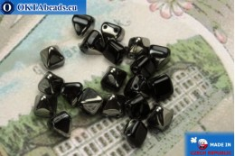 Pyramid czech beads black hematite (27401JT) 6mm, 20pc MK0306
