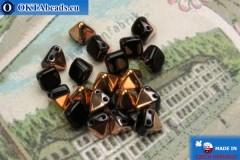Pyramid czech beads black copper (C23980) 6mm20pc
