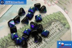 Pyramid czech beads black AB (X23980) 6mm20pc MK0304