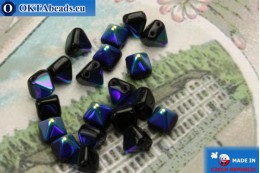 Pyramid czech beads black AB (X23980) 6mm20pc MK0304