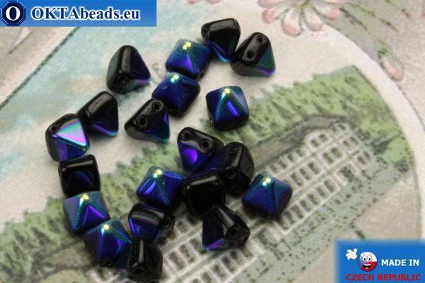 České korálky pyramidy černý AB (X23980) 6mm20ks MK0304