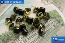 Чешские бусины пирамиды черные золото (26441JT) 6мм20шт MK0307