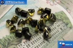 Pyramid czech beads black gold (26441JT) 6mm20pc