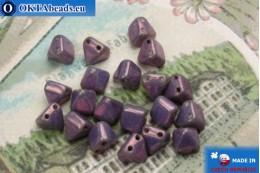 České korálky pyramidy fialový zlatý lesk (LE03000) 6mm20ks MK0308