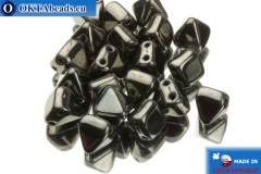 Pyramid czech beads hematite (23980/14400) 6x6mm, 20pc