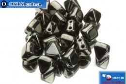 České korálky pyramidy hematit (23980/14400) 6x6mm, 20ks MK0099