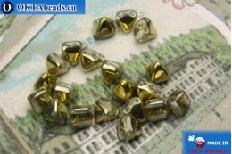 České korálky pyramidy čirý zlato (26441CR) 6mm20ks MK0301
