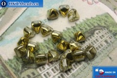 Pyramid czech beads crystal gold (26441CR) 6mm20pc MK0301