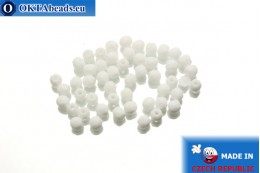 Czech fire polished beads white (03040) 3mm, 50pc FP235