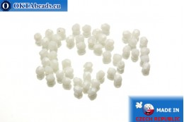 Czech fire polished beads white (L02010) 3mm, 50pc FP219
