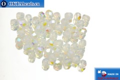 Czech fire polished beads white alabaster AB (X01000) 4mm, 50pc