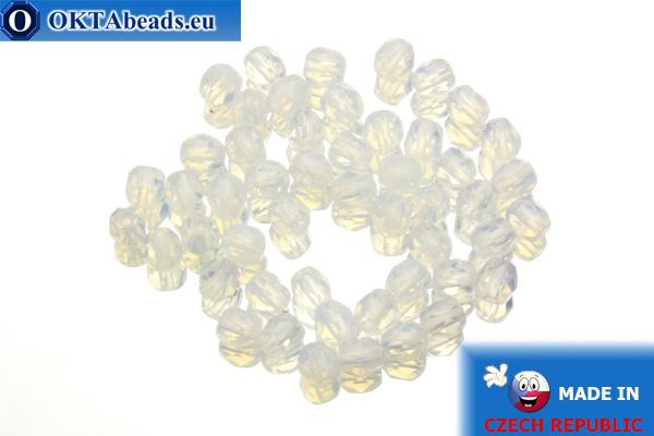 Czech fire polished beads white opal (01000) 4mm, 50pc